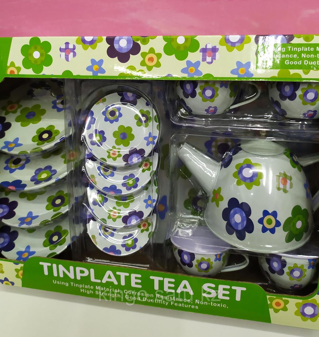 Детская Посуда металлическая, набор посуды на 4 персоны, чайный набор