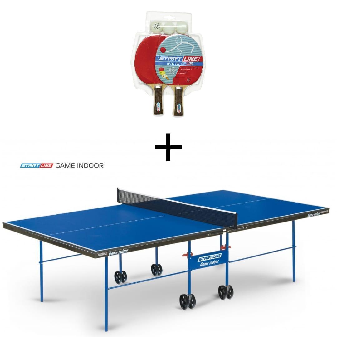 Теннисный стол START LINE GAME INDOOR с сеткой с комплектов