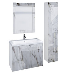Коллекция Lacio 80 см. Подвесная тумба, зеркало, пенал. Стеклянный фасад. (Белый мрамор)