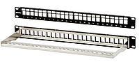Коммутационная патч-панель наборная Hyperline, 19, 1HU, портов: 24хkeystone, кат. 5-7A, экр., с задним кабельным организатором без модулей, цвет: