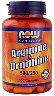 NOW Arginine Ornithine (100 капсул)