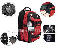Городской рюкзак SWISSGEAR с дождевиком USB и AUX порт на плечевом ремне (красный) 7005