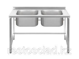 Ванна моечная двухсекционная Luxstahl ВМ2 12/7/8.5 (0.8) без фартука
