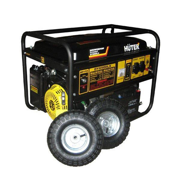 Бензиновый генератор HUTER DY6500LX с колесами