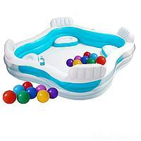 Детский надувной бассейн Intex 56475-1, 229 х 229 х 66 см, с шариками 10 шт, сиденьями, подстаканниками