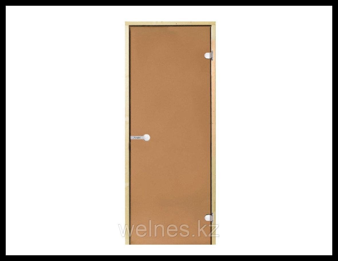 Дверь для сауны Harvia STG, 8x19 (короб - сосна, стекло - бронза, ручка - защелка)