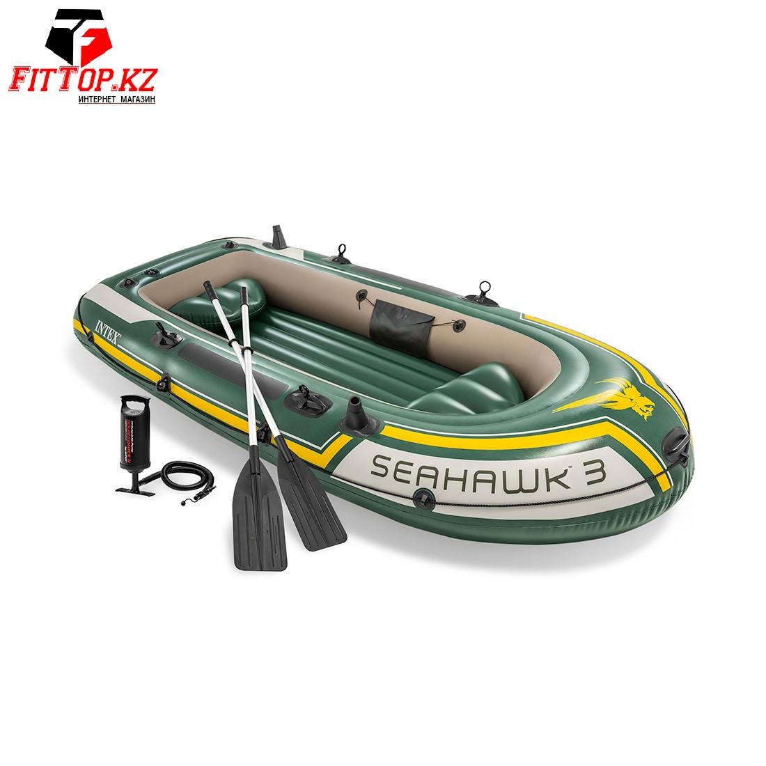 Лодка надувная Intex 68380NP Seahawk 3, Зеленый (Intex68347)