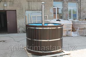 Купель-Фурако из кедра д. 200 см. / круглая / с пластиковой вставкой / внутренняя печь