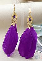 """Серьги с перьями """"Фиолетовая мечта"""""""