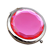 Карманное зеркальце двойное с увеличением, цвет малиновый