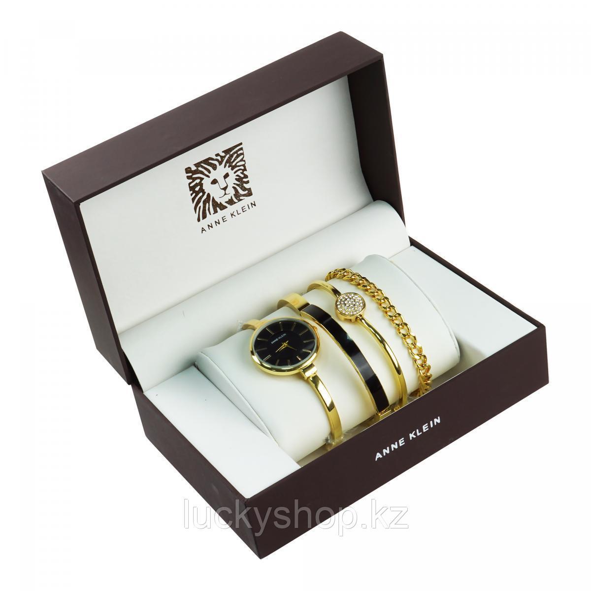 Часы в подарочной упаковке Anne Klein, цвет золотой + черный
