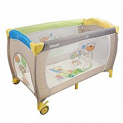 PITUSO Манеж-кровать GRANADA МИШКИ 2-уровневый на молнии лаз пласт кольца 4шт, 2 колеса 120*60*