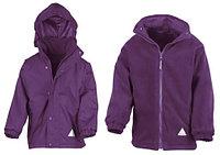 Детская куртка с флисовым утеплителем два в одном фиолетовая, фото 1