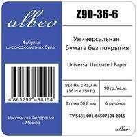 Бумага для плоттеров ALBEO Z90-36-6 Бумага универсальная, 90г/м2, 0.914x45.7м, втулка 50.8мм, мультипак, 6 рул