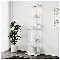 ДЕТОЛЬФ Шкаф-витрина, белый, 43x163 см