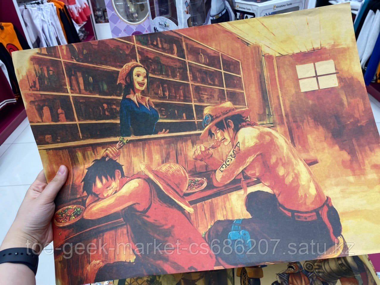 """Крафтовый постер """"Ван Пис. Луффи, Эйс"""""""