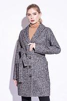 Пальто демисезонное, твид, 44-52, коричнево-серое, классика