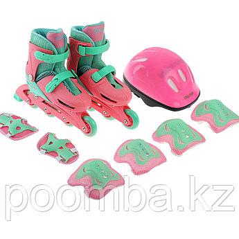 Детские роликовые коньки с комплектом защиты розовые 34-37