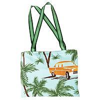 СОЛБЛЕКТ Пляжное полотенце с сумкой, орнамент «пальма/машина» синий