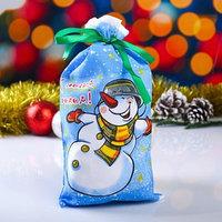 Мешок новогодний 'Снеговик', с лентой, габардин,  16х30 см