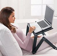 Раскладной столик трансформер с кулером и охлаждением на кровати для ноутбука и работы