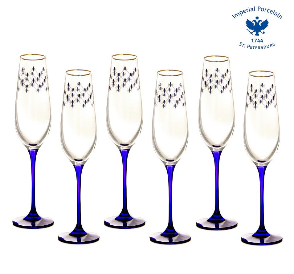 Набор из 6 бокалов для шампанского Кобальтовая сетка