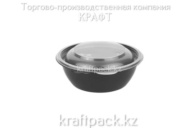 Контейнер с крышкой 144 ПП - 375 мл чёрный (50/300) ПолиЭр
