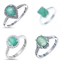 Серебряные кольца с изумрудами