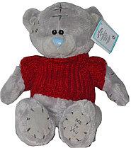 Тедди в кофте красной 17см