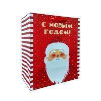 Non-branded Пакет бумажный подарочный, Дед Мороз, тиснение фольгой, размер 20 x 24 x 11,5 см.