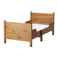 Кровать детская раздв ЛЕКСВИК +реечн днище морилка/антик ИКЕА, IKEA