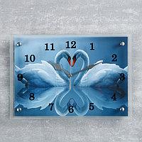 """Часы настенные, серия: Животный мир, """"Два белых лебедя"""", 25х35  см, микс"""