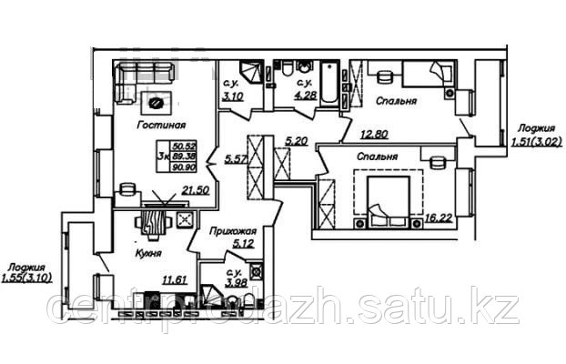 3 комнатная квартира в ЖК Manhattan 5 90.9 м²
