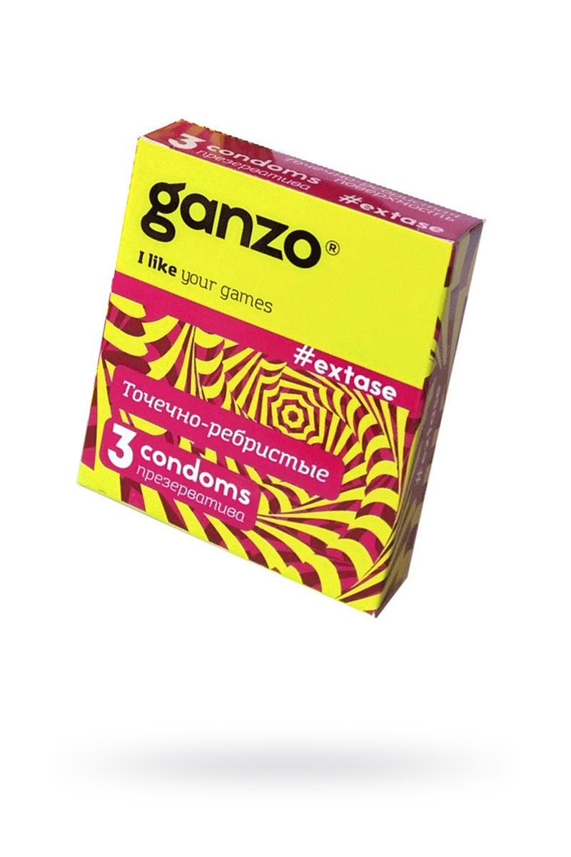 Презервативы «Ganzo» Extase, ребристые, 3 шт