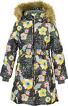 Пальто для девочек Huppa YACARANDA, серый с принтом