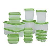 Контейнеров набор ПРУТА 17 шт. прозрачный зеленый ИКЕА, IKEA
