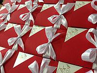 Пригласительные в виде конверта с вкладышем, бархатные, фото 1