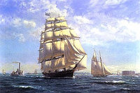 Репродукция картины Roy Cross - 'Challenge' leaving New York in the 1850s, SPS670, 60x86 cm