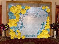 Пресс-стена на свадьбу, 3Д баннер из бумажных цветов, фотозона Астана, баннер на свадьбу