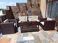 Комплект мебели в стили hi tech из искусственного ротанга стол + 2 кресла + 1 диван