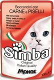 Simba Cat Симба корм для кошек в паучах кусочки с мясом и горохом, 100г