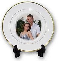 Тарелки для сублимации, белая, с золотой каймой Ø20см