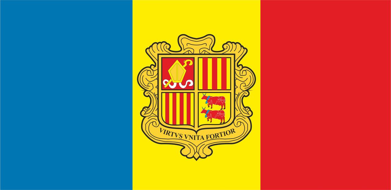 Флаг Андорры размер 1 х 2 метра.