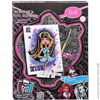Роспись по холсту и украшение пайетками Клео Monster High