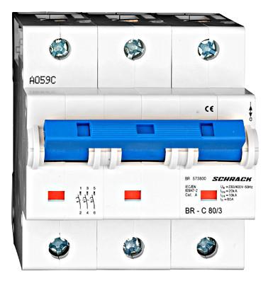 Автоматический выключатель 3-полюса 80А на рейку DIN