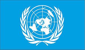 Флаг ООН. Организация Объединённых Наций.