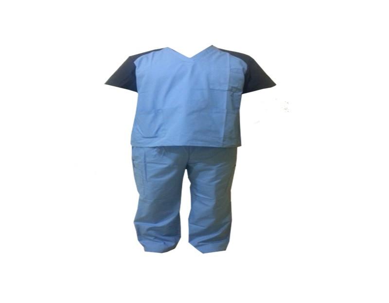 Хирургический костюм, голубого цвета с синими рукавами, размер XL