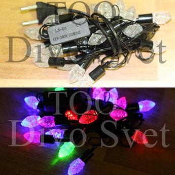 """Led гирлянда нить  декор """"Конфетки"""" 4м, черный провод, переливается, RGB разноцветные"""