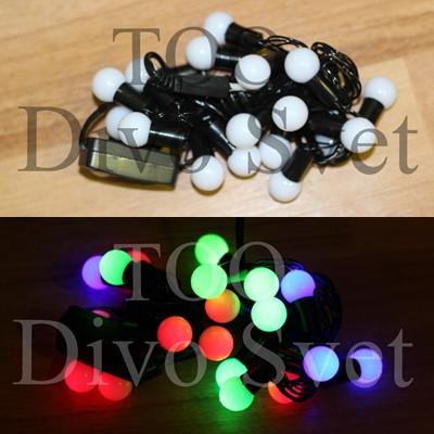 """Светодиодная гирлянда декор """"Мультишарик"""" 4 метра, черный провод, RGB разноцветные."""