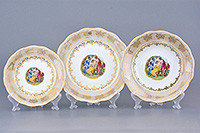 Набор тарелок 6 персон 18 предм Мадонна перламутровая (Carsbad, Чехия)